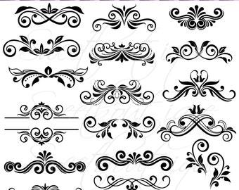 Flourish Digital Frames - Calligraphy Clip Art - Digital clipart- Wedding Clipart - Wedding Invitation - Frame Clip Art 0754