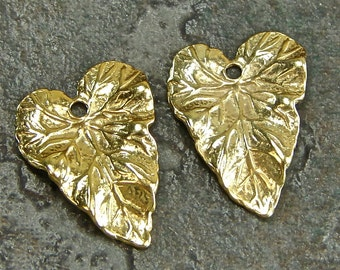 Antherium - 24K Gold Vermeil Heart Shaped Leaf Charms - One Pair - Two Pieces - calv