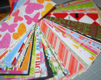 "Scrap Paper Variety Pack ... 100 Pieces 2"" x 6"" Assortment Variety Polka Dots Words Stripes Plaids Flowers Random Craft Supplies Paper Goods"