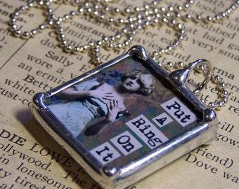Soldered Glass Art Charm, Collage Pendant, Engagement Gift, Vintage Image,