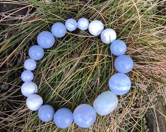 Angelite/Aquamarine/Blue Lace Agate Blue Chalcedony/Howlite Yoga Mala Beaded Bracelet. Healing Natural Gemstone Bracelet. Wrist Mala.