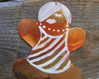 Ginger Girl, cuivre, ornement, Hipster, Noël, Collège, étiquette de cadeau, Art populaire, cadeau d'hôtesse, de cuisine, pain d'épice, petite amie