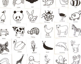 Animal Charades Game for Kids - 48 hand-drawn animal pictures - Birthday party game or camping card game - Printable preschool activities