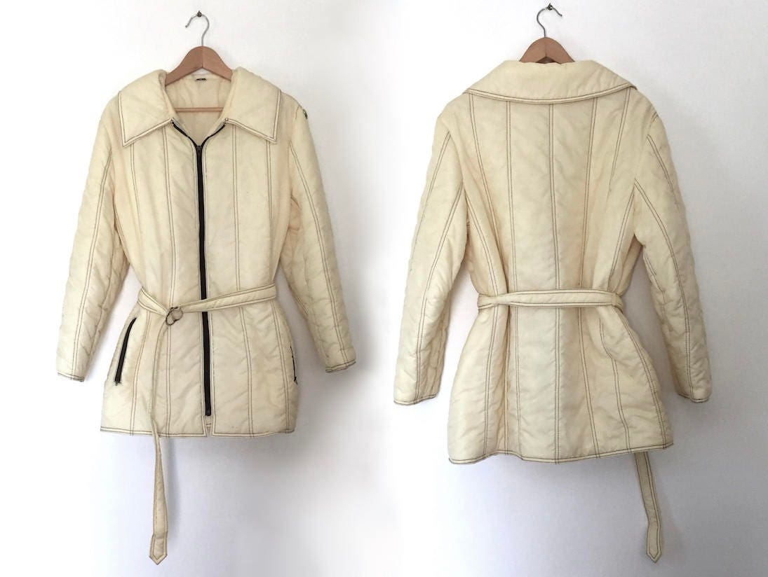 4f3c7a0bc70fa Vintage puffer manteau des années 70 ski blanc puffer manteau