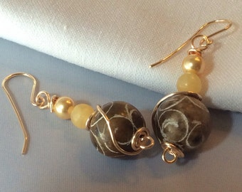 Expresso Brown Carved Jade With Yellow Jade and Pearls Dangle Earrings Gold Wire Wrapped / Natural Gemstone