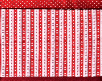 Sweetheart Red and White Hearts and Pin Dot Fabric Collection