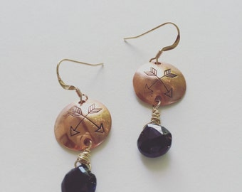 recycled copper and 12k gold hand stamped black faceted spinel earrings golden ADORN