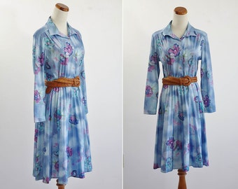 Vintage Secretary Dress, 70s Blue Floral Dress, 1970s Shirtwaist Dress, Medium Bust 38 Elastic Waist, Long Sleeve Dress, Purple Flowers