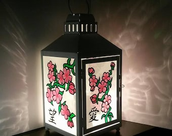 Color Casting Electric Lantern, Japanese Chinese Flowers, Asia, Japan,  China, Cherry