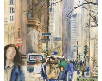 Downtown Chicago street scene with highrises and people walking down Michigan Ave, Watercolor Giclee art print