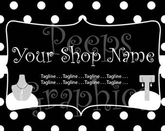 Full Graphics Set: Polka Dot/Jewelry - Complete Business Set (Etsy, Social Media, Business Card)