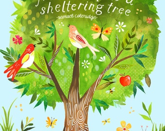 Sheltering Tree inspirational print | Watercolor Painting | Hand Lettered Wall Art | Birds | Katie Daisy | 8x10 | 11x14