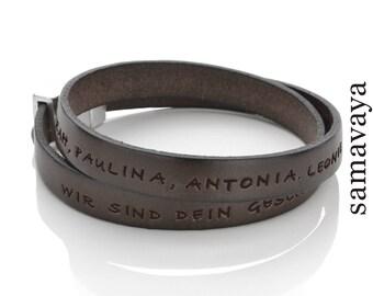 Men bracelet Engraving My message men Darkbrown leather bracelet Men bracelet name Wish text