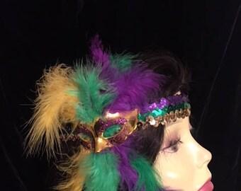 Mardi Gras headband, carnival headband, Sequined headband, feather headband, purple headband, gold headband. New Orleans  headband