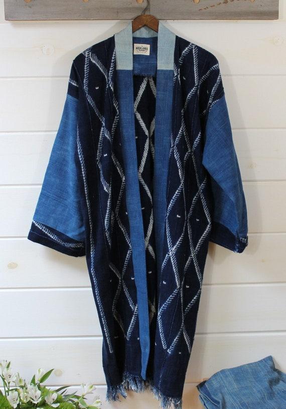 Indigo Shibori Mud Cloth Kimono