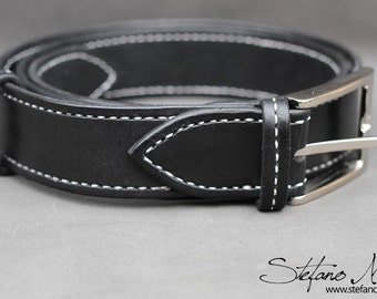 Handmade Classic Leather Black Belt with white sewing - Special gift