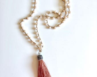 Pink and tassel crystals necklace