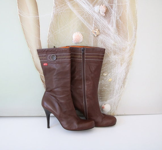 Boots Plum MISS EUR SIXTY Leather 41 Genuine Boots Brown Women 0pUwqp