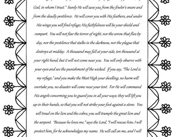 Psalm 91, The Warrior's Psalm, Bible verse coloring page