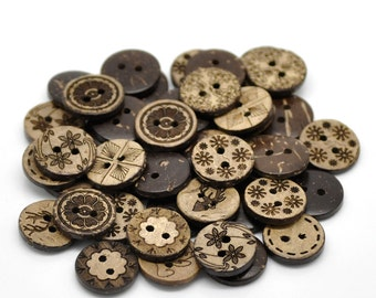 50 Bulk Mixed Coconut Shell Wooden Buttons - 15mm (5/8 inch) - 2 Hole - Assorted Coconut Wood Button (19947)
