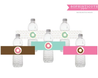 Donut Printable Water Bottle Labels - Donut Birthday Party Decor - Paper Napkin Bands - Sophisticute Paperie