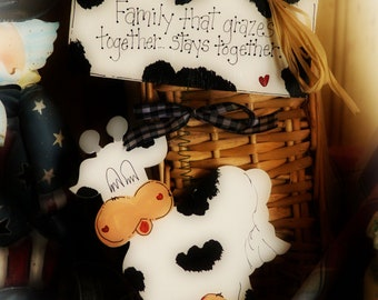COWS Country Kitchen Decor FARM Cow Family Grazes Whimsical Wall Sign