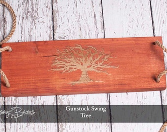Tree Swing Engraved Tree of Life Gunstock Stain Swing with Rope