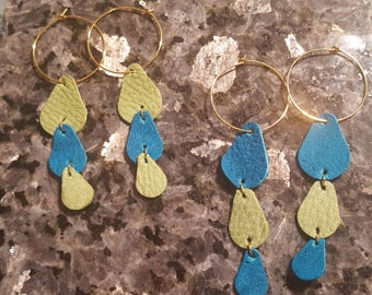 Leather Raindrop Earrings