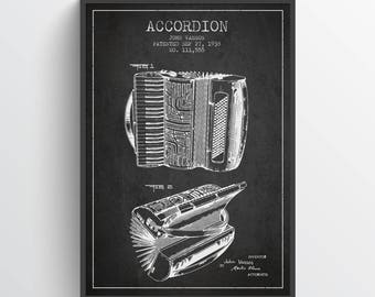 1938 Accordion Patent Wall Art Poster, Vintage Accordion, Accordion Print, Accordion Poster Home Decor, Gift Idea, MUIN18P