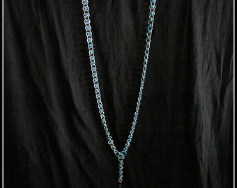 Turquoise & Silver Barrel Weave Lanyard
