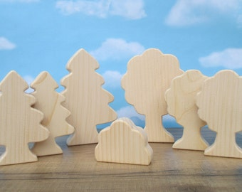 Wooden trees - Wooden toy trees - Wooden toys for kids - Miniature wooden trees - Birthday gift - Gift under 20 - wooden trees to paint