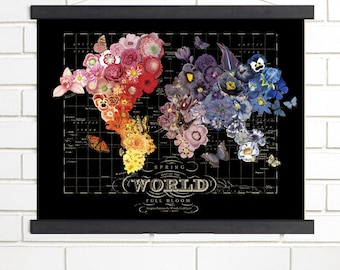 Vintage Map Art, Spring in Bloom, Black, Wood Bound Canvas, Black Floral World Map Art