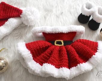 Christmas Baby Dress, Santa Hat, & Santa Boots Crochet Pattern Set - Size Newborn to 3 month - PATTERN ONLY - PDF File Instant Download