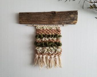 Barnwood Weaving / weaving wall hanging, woven wall art, modern rustic, boho decor, tapestry wall hanging, barn wood wall art, barnwood art