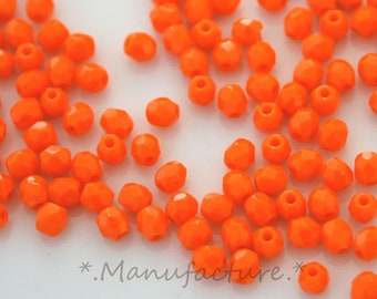Czech glass bead, 3mm (200pc) orange glass faceted Czech glass beads