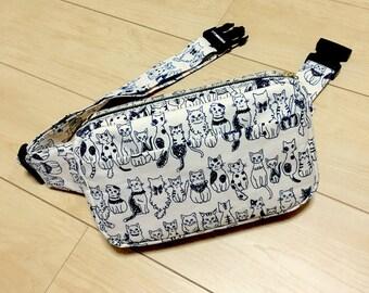Body Bag / Waist Pouch / Hip Bag --- Cat Cat Cat - White