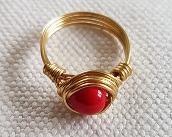 Gold plated wire wrapped ring with red bead detail