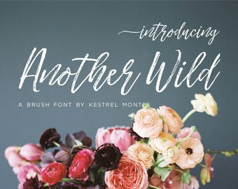 Handlettered Modern Brush Font by Kestrel Montes, Another Wild Brush Calligraphy Font, Digital Font Web Version Included, Commercial Use OK