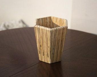 Hexagonal wooden shell (also suitable as a vase or pedestal)