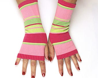 Pink Green Striped Gloves - Striped Cotton Fingerless Gloves - Pink Green Stripe Texting Gloves -