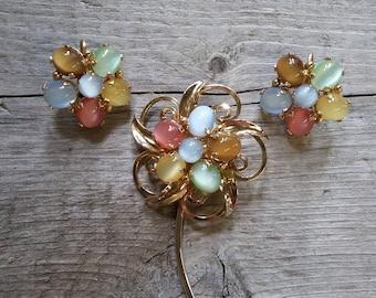 Vintage Lucite Flower Brooch-Lucite Flower Clip Earrings-Lucite Flower Demi Parure-Jelly Belly Pastel Flower-Moonstone Flower Brooch