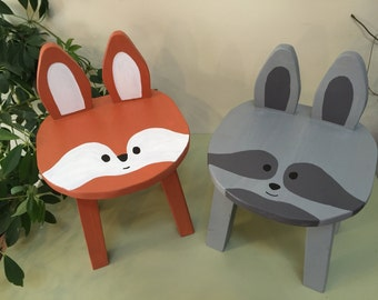Woodland kids furniture | Chair set | 2 Raccoon & Fox wood animal stools | Toddler chairs | Forest theme nursery