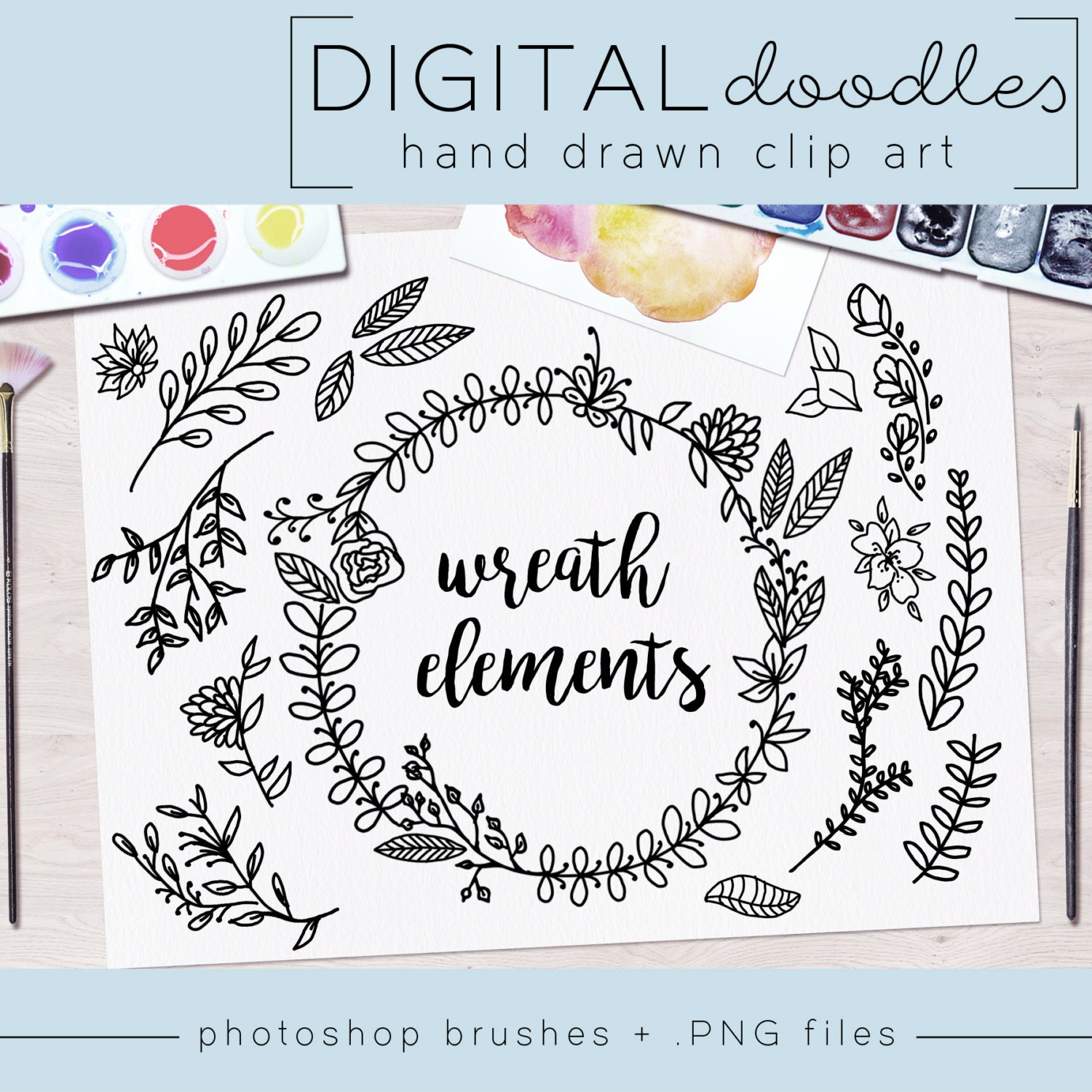 Hand Drawn Clip Art / PNG files / Photoshop brushes / Digital ...