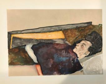 "Egon Schiele ""The Artist's Mother Asleep"" from Egon Schiele-As a Draughtman by Otto Denesch, 1950, 9.25 x 13.5 inches"
