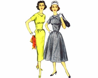 Vintage 1950s Simplicity 1953 Dress Sewing Pattern Womens Fitted Midriff Dress Sheath Dress Misses Size 16 Bust 36