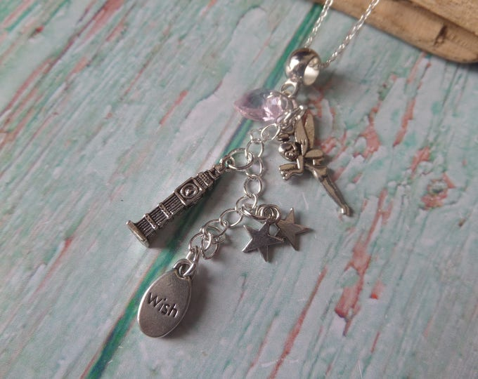 Peter Pan necklace, Fairy necklace, pan favors, pan party, fairy gift, tinkerbell necklace, london gift, fandom gift, sandykissesuk