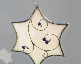 White Iridescent Stained Glass Star Suncatcher or Ornament for Hanukkah