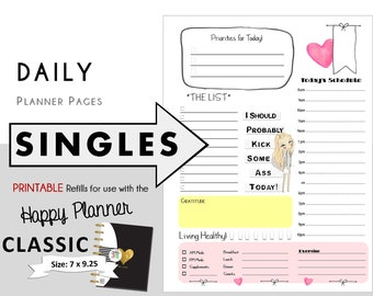 """CLASSIC Happy Planner DAILY Insert Printable Singles  Create365 