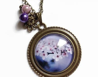 necklace, Cherry blossom, spring cherry blossom pink purple flowers, glass cabochons