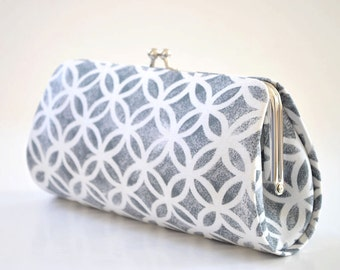 Printed Rings in Gray - Bridesmaid Clutch - Custom made clutch - Wedding clutch - Gift idea - For her